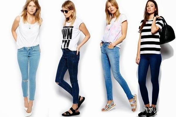 Verschiedene Kombinationsmöglichkeiten für ärmellose Jeanshemden